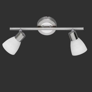 LHG LED-Wand- oder Deckenstrahler -  Nickel matt und Chrom - 2- flammig + Extra LED Leuchtmittel G9 2er Pack