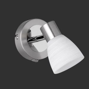 LHG LED-Wandstrahler -  Nickel matt und Chrom - Inklusive 1 x G9 Leuchtmittel LED 3,5 Watt 300 Lumen  3000 Kelvin + Extra LED Leuchtmittel G9 2er Pack