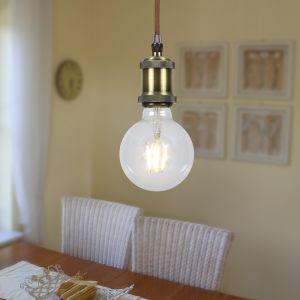 Leuchtenpendel E27 6W Globe Metall Antik altm. Textilkabel braun