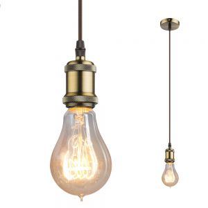 LHG Leuchtenpendel E27 -Textilkabel braun - Metall Antik altmessing braun/messingfarbig
