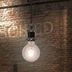 LHG Leuchtenpendel E27 -Textilkabel schwarz, Metall Chrom geschwärzt
