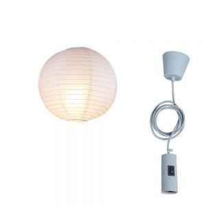 LHG Leuchtenpendel grau + 40cm Japankugel weiß 40,00 cm