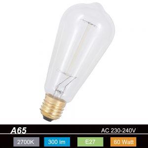 Leuchtmittel A65 Vielfach Wendel Rustika 60W klar E27