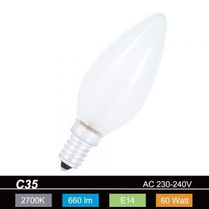 Leuchtmittel C35 Kerze matt  60W  E14 - 660lm 1x 60 Watt, 60 Watt, 660,0 Lumen