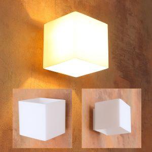 Leuchtwürfel Up & Down Wandleuchte aus Glas weiß, quadratisch 10x10cm , würfelförmig, inkl GU9 LED warmweiß