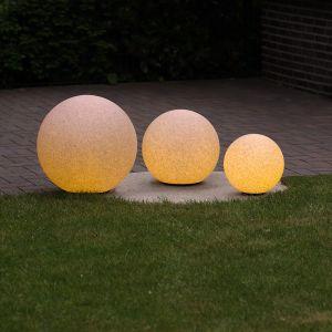 LHG 3er-Set Kugelleuchten 20, 30 und 40 cm Ø Sandsteinoptik