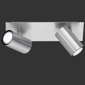 LHG Deckenstrahler mit schwenkbaren Schirmen - 2-flammig - Nickel-matt