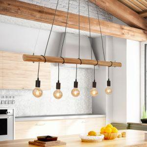 LHG Esstisch Pendelleuchte aus Echtholz, 5-flammig, Holz-Balken, Astlampe, Hängeleuchte inkl. 5x 4W LED Filament Leuchtmittel warmweiß 2000K 5x 5 Watt, LED Lampen