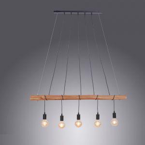 LHG Esstisch Pendelleuchte, Echtholz, 5-flammig, Holz-Balken, Astlampe, Glühbirnenform Hängeleuchte ohne E27 Leuchtmittel 5x 60 Watt, Ja