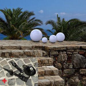 LHG Kugelleuchten 4er-Set, 15,20, 25, 30 cm, mit Erdspieß und LEDs