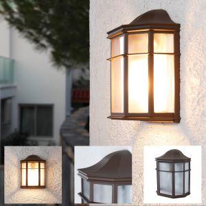 LHG Landhaus Außen Wandlampe klassisch braun mit Glas , E27 , flach, braun, LED einsetzbar, Landhausstil
