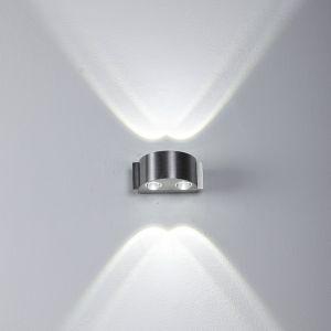 LHG LED Up & Down Wandleuchte aus Aluminium halbrund mit 4 Linsen für besonderen Lichteffekt IP44  für Innen und Außen