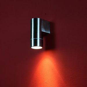 LHG LED Außenwandleuchte aus Edelstahl rund, Downlight, inkl. GU10 LED 7W warmweiß