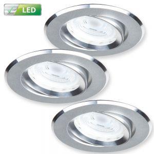 LHG LED-Einbaustrahler 3er-Set Alu matt, rund, LED 3x GU10 5 W