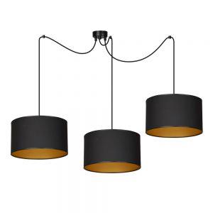 LHG Pendelleuchte, Lounge, Hotel, 3-flammig, Stoffschirm, schwarz gold, inkl. LED 3x 5W