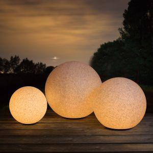 LHG Sandstein-Optik 3er-Set Kugelleuchten Ø 30,40 und 50 cm, inkl. LED