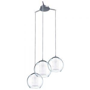 Licht im Glas: 3-flammige Pendelleuchte aus klarem und satiniertem Glas