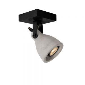 Lucide 1 fl. Deckenstrahler Concri-Led  schwarz, Beton 1x 5 Watt, Beton-Optik, glatt, 10,00 cm, 10,00 cm, Montagematerial