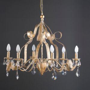 Luxuriöser Kronleuchter Eisen mit Blattgold und Bleikristallrispen