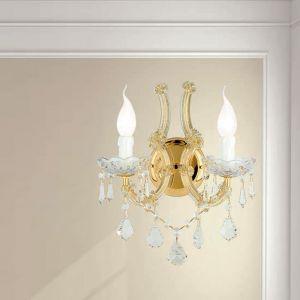 Luxuriöse Wandleuchte - 2-flammig - in 24 K Gold