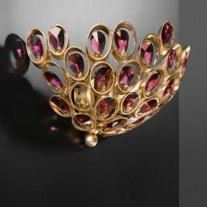 Luxuriöse Wandleuchte - Blattgold - Kristalle amethyst oder klar