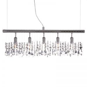 LHG Moderne 5-flammige Pendelleuchte mit 22 x dekorativem Glasbehang