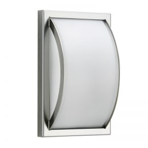 Moderne Außenwandleuchte aus Edelstahl mit Opalglas  IP44
