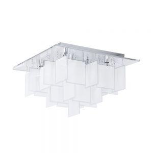 Moderne Deckenleuchte 47 cm x 47 cm aus Stahl mit satinierten Glasplatten 8x 18 Watt, 30,00 cm, 47,00 cm, 47,00 cm