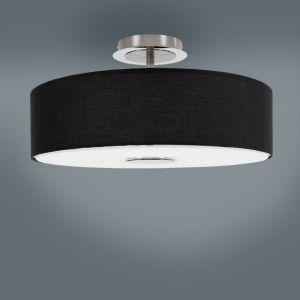 LHG Moderne Deckenleuchte - Mit Stoffschirm in Schwarz 3x 40 Watt, schwarz