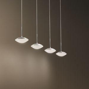 Moderne LED Pendelleuchte - 4-flg - Alu-gebürstet oder Weiß