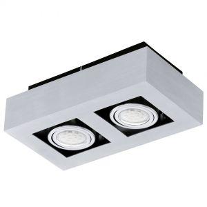 Moderne LED-Aufbauleuchte mit Stahl und Aluminium in chrom und schwarz  - 25 cm x 14 cm 2x 3 Watt, 25,00 cm, 14,00 cm