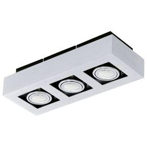 Moderne LED-Aufbauleuchte mit Stahl und Aluminium in chrom und schwarz - 36 cm x 14 cm 3x 3 Watt, 36,00 cm, 14,00 cm