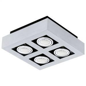 Moderne LED-Aufbauleuchte mit Stahl und Aluminium in chrom und schwarz - 25 cm x 25 cm 4x 3 Watt, 24,00 cm, 24,00 cm
