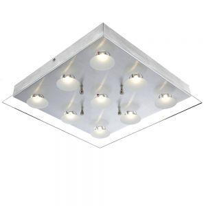 Moderne LED-Deckenleuchte - Aluminium - Glas klar und satiniert - Inklusive LED 9 x 5 Watt  2988 Lumen  3200 Kelvin