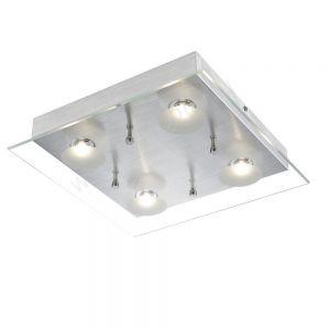 Moderne LED-Deckenleuchte - Aluminium - Glas klar und satiniert - Inklusive LED 4 x 5 Watt  1328 Lumen  3200 Kelvin