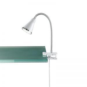 Moderne LED-Klemmleuchte für den Schreibtisch - aus Kunststoff - inklusive LEDs - in weiß weiß