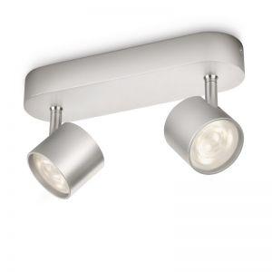 Moderne LED-Spotserie - 2-flammiger Deckenstrahler - Aluminium , aluminiumfarben
