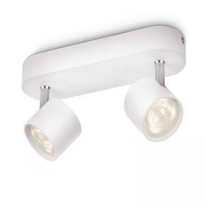 Moderne LED-Spotserie - 2-flammiger Deckenstrahler - Weiss 2x 4 Watt, weiß