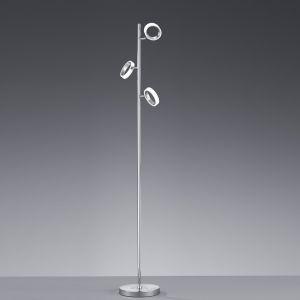 LHG Moderne LED-Stehleuchte - Mit Dimmer - Chrom - Acrylglas - Inklusive LED 3 x 5 Watt  1350 Lumen 3000 Kelvin + Extra 1x GU10 LED Leuchtmittel zur freien Nutzung
