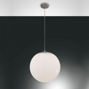 Moderne Pendelleuchte - Kugelleuchte Weiß, Glas 40 cm