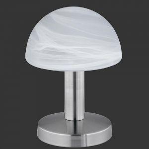 Moderne Tischleuchte Touch me - Nickel, Glas weiß
