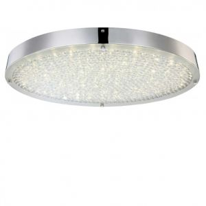 Ovale LED Deckenleuchte - Chrom - Kristall -  Länge 55cm, inklusive 1 x30Watt, 3260lm,  inklusive LED Taschenlampe