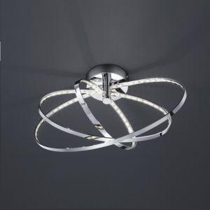Ovale LED-Deckenleuchte - drei verchromte Ringe - inklusive LED-Leuchtmittel