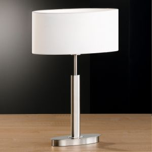 Ovale Tischleuchte in Nickel matt, Schirm in Weiß weiß