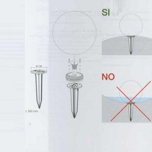 Passender Erdspieß für die Kugelleuchten mit  28, 38 und 55 cm Ø