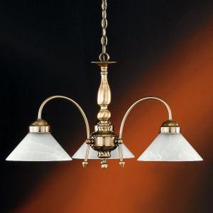 Pendelleuchte 3-flammig, in Altmessing mit weißem Alabasterglas