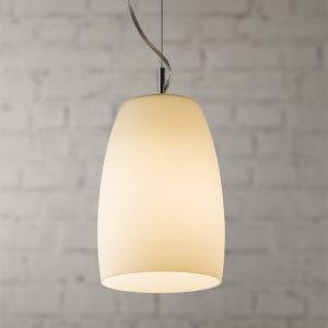 Pendelleuchte in Chrom mit weißem Opalglas 22 cm