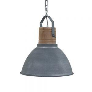 Pendelleuchte Denzel mit Holz grau 1x 60 Watt, grau
