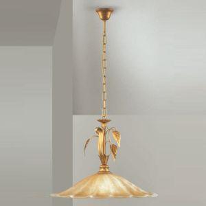 Pendelleuchte im Florentiner-Stil - 1-flammig - Gold mit Teilen in Antik-Gold - Glas amberfarbig