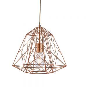 Pendelleuchte Geometric Cage aus Metall im Industrie Design in Kupfer kupfer